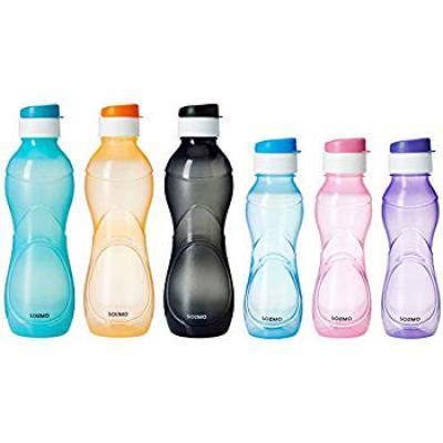 Amazon Brand - Solimo Plastic Water Bottle Set, 6-Pieces, Multicolour (CHEMCO10)