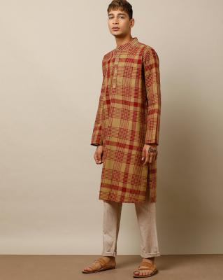 Indie Picks South Cotton Checked Long Kurta with Patch Pocket