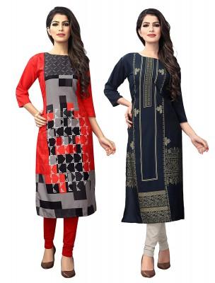 1 Stop Fashion Women's Crepe Straight Kurta (Pack of 2)...