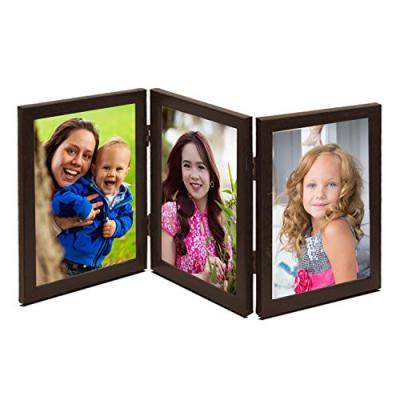 Wens Trio Picture Glass Front Vertical MDF Photo Frame (MDF, 20.32 cm x 45.72 cm x 1.2 cm, Brown, Set of 3)
