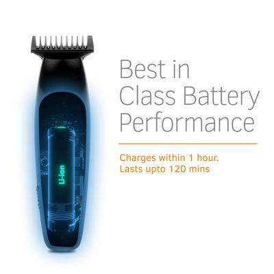 Ustraa Chrome - Corded & Cordless Titanium Coated Stainless Steel Blade Beard Trimmer with Lithium-ion Battery