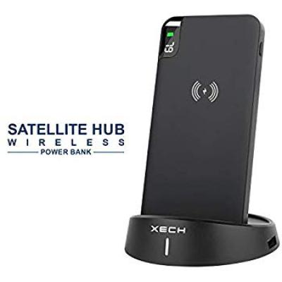 XECH Satellite HUB Wireless Power Bank with Stand 10000 mAH for Qi Enabled Phones, Fast Charging with 4 USB Ports)
