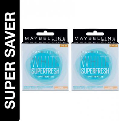 Maybelline New York White Super Fresh, Pack of 2 Compact  (Coral, 16 g)