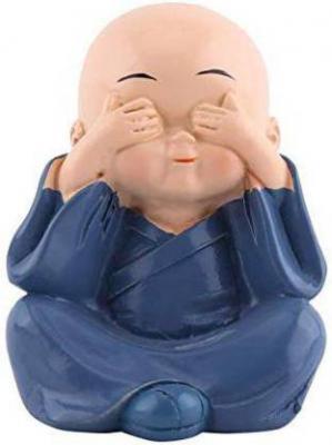 GW Creations Beautiful Baby Monk Decorative Showpiece - 4 cm  (Polyresin, Blue)