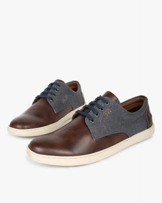 AJIO Panelled Low-Top Lace-Up Sneakers