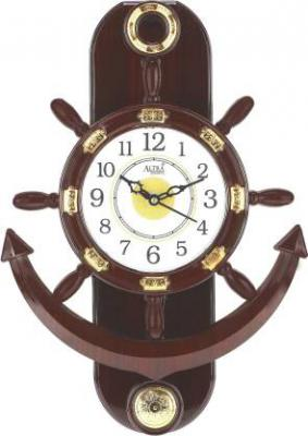 Altra Quartz Analog 37.5 cm X 25.4 cm Wall Clock  (Brown, With Glass)
