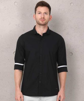 Metronaut Men Solid Casual Black Shirt