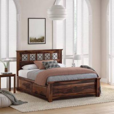Flipkart Perfect Homes PureWood Sheesham Queen Box Bed  (Finish Color - Walnut)