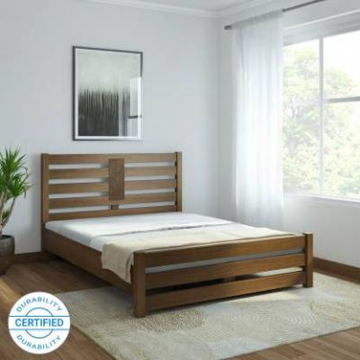 @home by Nilkamal Nation Solid Wood Queen Bed (Finish Color - Walnut)