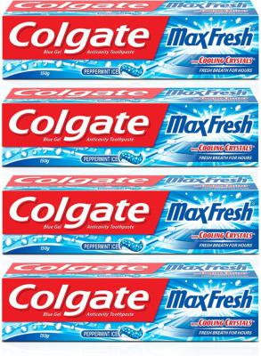 Colgate Maxfresh Blue Gel Peppermint Ice Toothpaste (150 g, Pack of 4)
