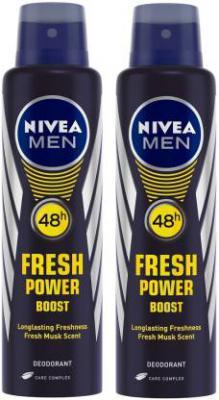 Nivea Men Fresh Power Boost Deodorant Spray - For Men (300 ml, Pack of 2)