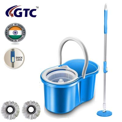 GTC Best Homes 360 Spin Floor Cleaning Easy Magic Plastic Bucket Mop with 2 Microfiber Heads