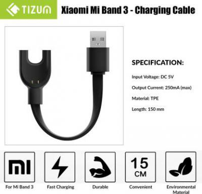 TIZUM Charger for Fitness Band 0.15 m Power Sharing Cable  (Compatible with Xiaomi MI 3 Fitness Band, Black, One Cable)