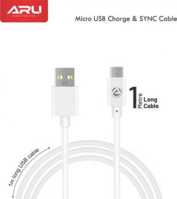 ARU PVC 1 m Micro USB Cable (Compatible with all Micro USB enabled devices)