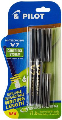 Pilot V7 Hi-Tecpoint Roller Ball Pen with Cartridge System - 2 Black Pens, 4 Black Cartridges