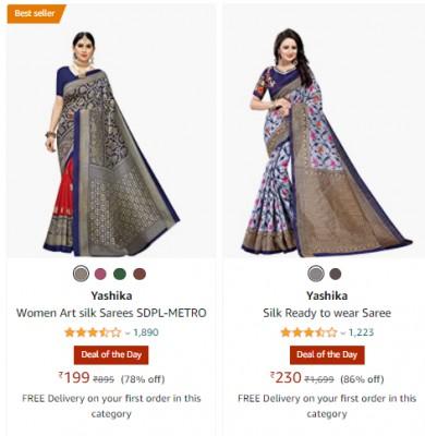Women's Designer & Silk Sarees at Min.80% Off