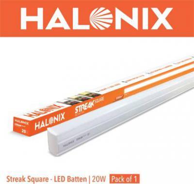 halonix LED BATTEN STREAK SQUARE 20W CW Straight Linear LED Tube Light  (White, Pack of 2)