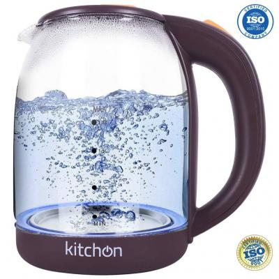 Kitchon KIKGL 1.8L 1500W Cordless Automatic Electric Glass Kettle with Stainless Steel Lid