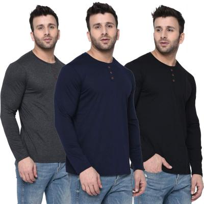 London Hills Solid Men Full Sleeve Round Neck T-Shirt (Pack of 3)