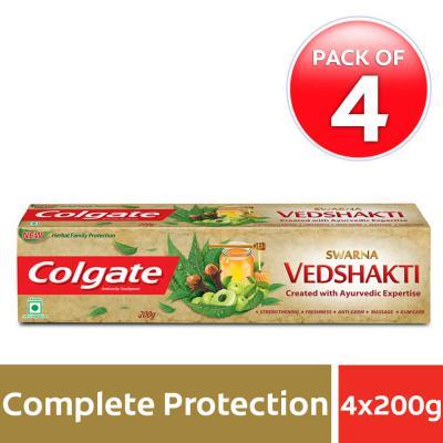 Colgate Swarna Vedshakti Toothpaste - 200gm (Pack of 4)