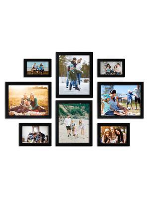Random Photo Frames (Synthetic Wood, 34 cm x 26.5 cm x 15 cm, Black, Set of 8)