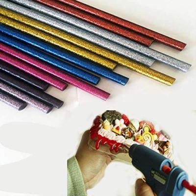 Glun 7MM Thin Glitter Coloured Hot Melt Glue Sticks for DIY Craft and Decoration - Pack of 12 (Multicolour)