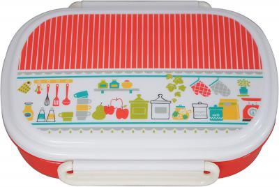 Hoom Plastic Lunch Box, 500ml, Red/White