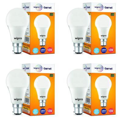 Wipro Garnet Base B22 10-Watt LED Bulb (Pack of 4, White)