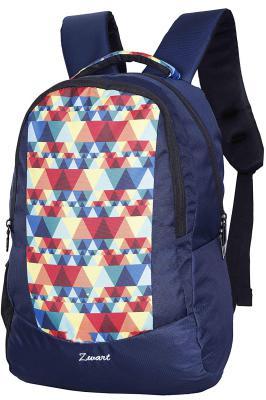 Zwart 25 Ltrs Navy Blue Printed School Backpack (FAZER-Pyramid)