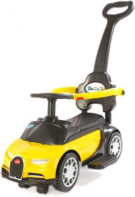 Toy House Foot to Floor Bugatti Push Car with Removable Push Handle for Kids (1 to 3Yrs), Yellow