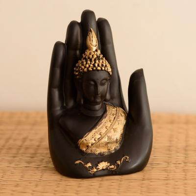 eCraftIndia Golden Handcrafted Buddha Palm Decorative Showpiece - 17.5 cm  (Polyresin, Gold, Black)