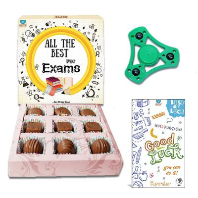 Bogatchi All The Best for Exam Chocolates, 90g and Free Hand Spinner with Free Exam Greeting Card, 90g