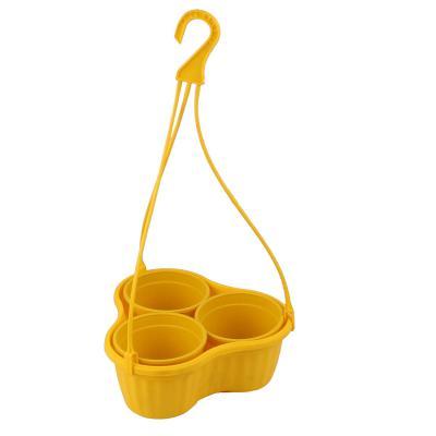 Malhotra Plastic Iris Hanging Basket Set (Yellow, Pack of 3 Sets)