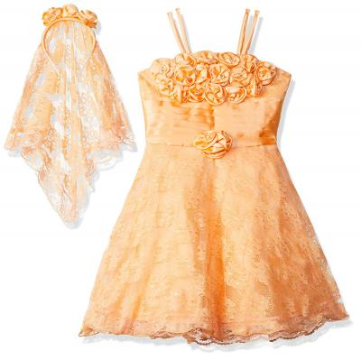 Smiling Bows Peach Party and Evening wear Flower Layer Girls Dress with matching Head Band