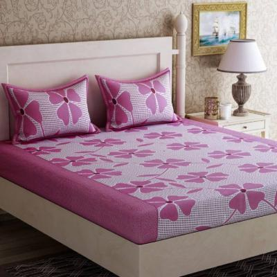 Home Furnishing - Bed 144 TC Cotton Double Floral Bedsheet  (Pack of 3, Pink)
