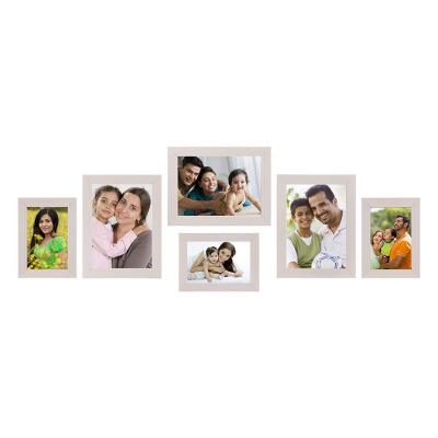 AmazonBrand - Solimo Collage Photo Frames, Set of 6,Wall Hanging (3 pcs - 4x6 inch, 3 pcs - 5x7 inch),Cream