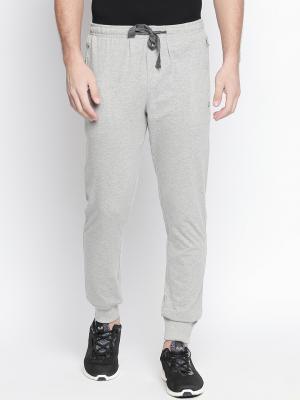 AVOQ Men Grey Melange Solid Slim Fit Joggers