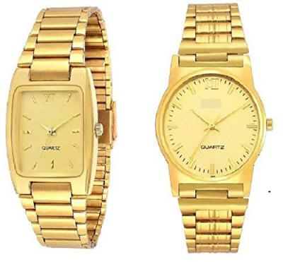 Pass Pass Full Gold Analogue Watch for Men & Boys (Combo)