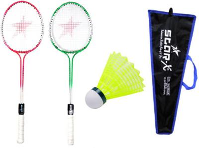 Star X Double Shaft Double Wiring Soft Grip Badminton Racket Cover Shuttle Cock Multicolor Strung Badminton Racquet