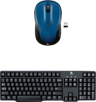 Logitech Multimedia Keyboard (English)-MK100-Black-Wireless Mouse-M325_Blue Combo