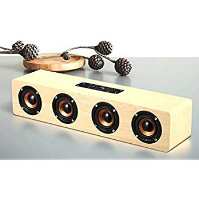 Live Tech Jalsa Wireless Wooden Speaker with Powerful Sound BS02 (Soft Maple Color)