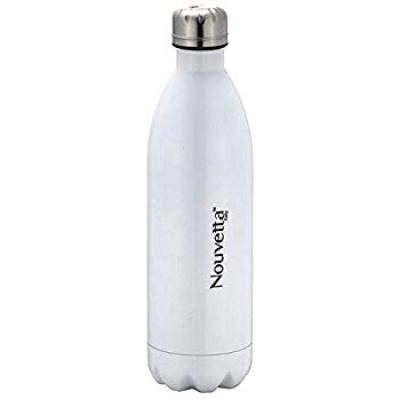 Nouvetta Vinatge Stainless Steel Double Wall Bottle, 1 Liter, White