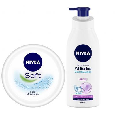 NIVEA Whitening Cool Sensation Body Lotion, 400ml + NIVEA Soft Light Moisturing Cream, 100ml Summer Promo Pack