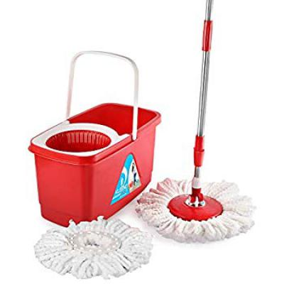 Cello Kleeno Easy Clean 360 Degree Plastic Bucket Spin Mop with 2 refill (Red)
