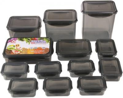 Bel Casa Lock & Store With Leak Proof Locking Lid Square PP (Polypropylene) Grocery Container  (Pack of 13, Grey)