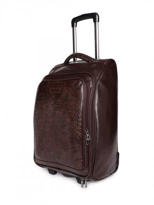 Bags.R.us Unisex Brown Textured Cabin Trolley Bag