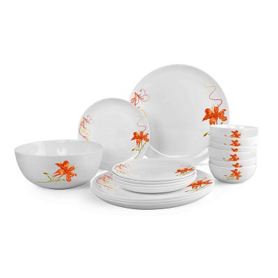 Cello Monarch Orange Lily Opalware Dinner Set, 19-Pieces, White