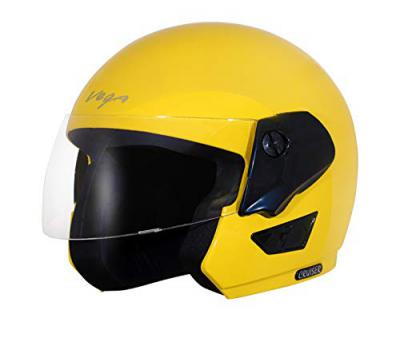 Vega Cruiser Open Face Helmet (Yellow, Medium)