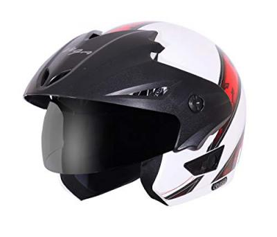 Vega Cruiser CR-W/P-ARS-WR-M Open Face Graphic Helmet (White and Red, M)