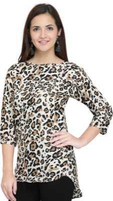 J B Fashion Party 3/4 Sleeve Animal Print Women Multicolor Top